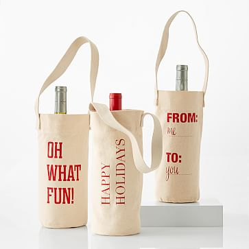 Graphic Holiday Wine Tote Set Of 3 Makeyourmark Wine Tote Bag Canvas Wine Bag Wine Bag