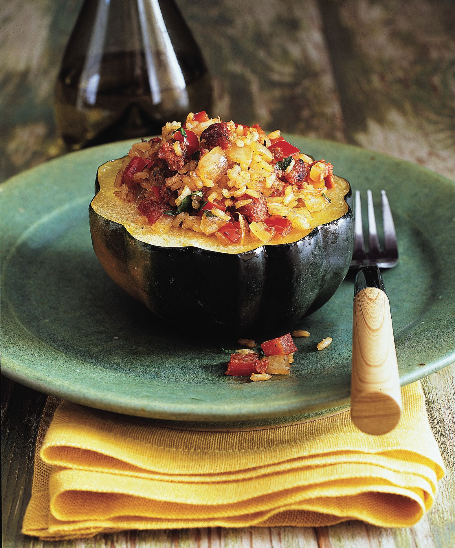 Acorn Squash With Brown Rice And Turkey Sausage Recipe Food