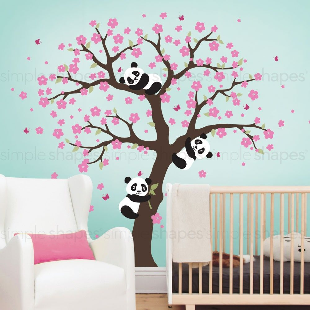 Panda And Cherry Blossom Tree Wall DecaCherry Blossom Tree Decal - Wall stickers for girlspink cherry blossom tree with birds wall stickers girls bedroom