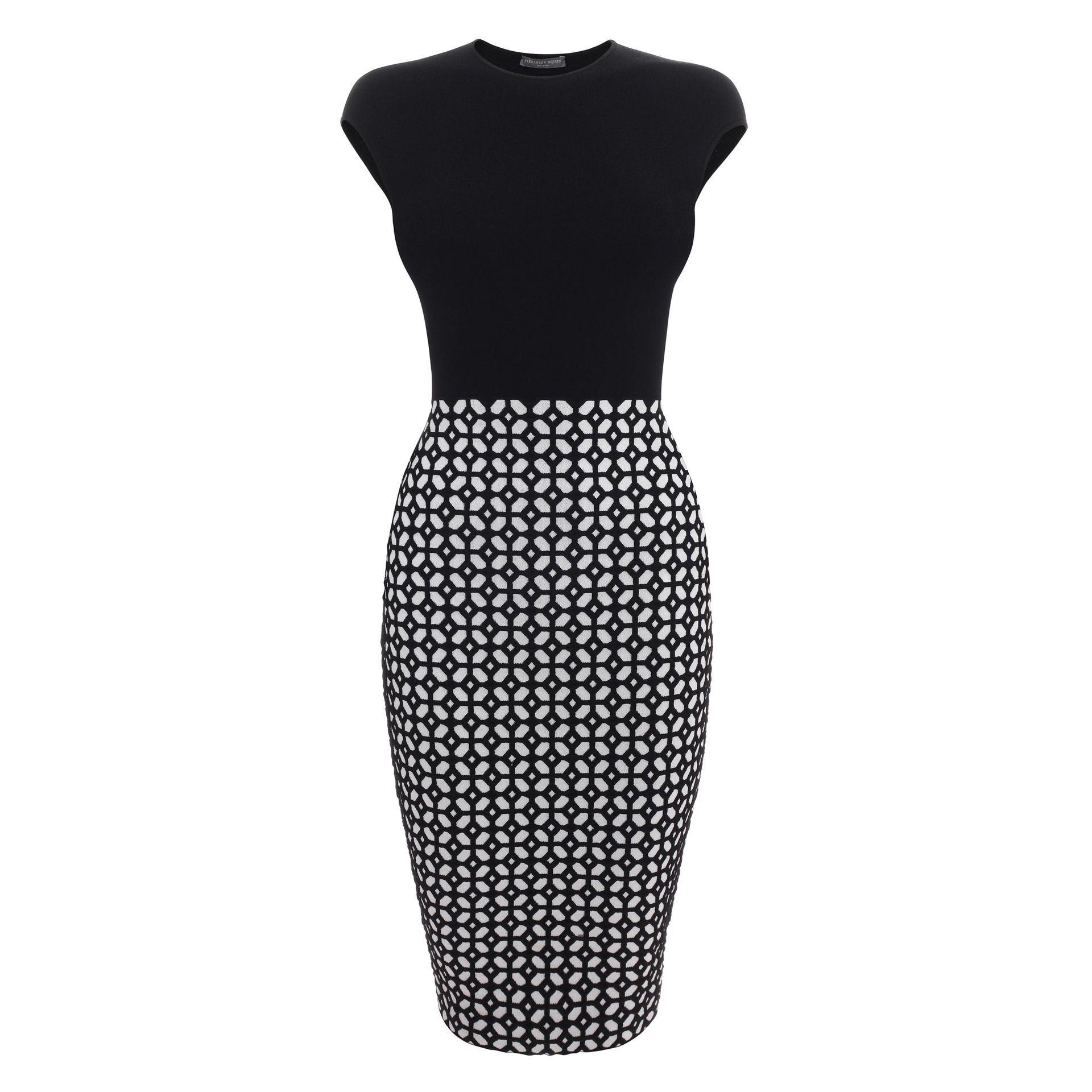 5934405b454 Grid Jacquard Knit Pencil Dress Alexander McQueen