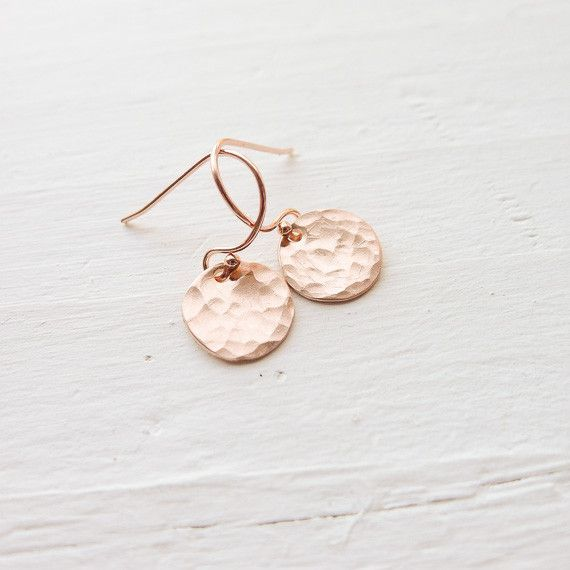 """Petite 1/3"""" discs are hammered and suspend from hook earwires. Rubber ear clutches are included. Choose sterling silver, yellow gold fill, or rose gold fill. A perfect basic!"""
