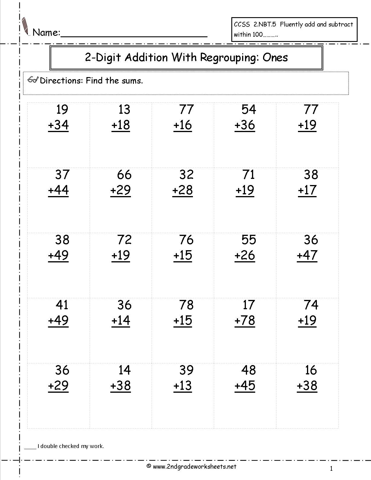 Two Digit Addiion With Regrouping Ones To Tens Place 2nd Grade Math Worksheets First Grade Math Worksheets Math Addition Worksheets