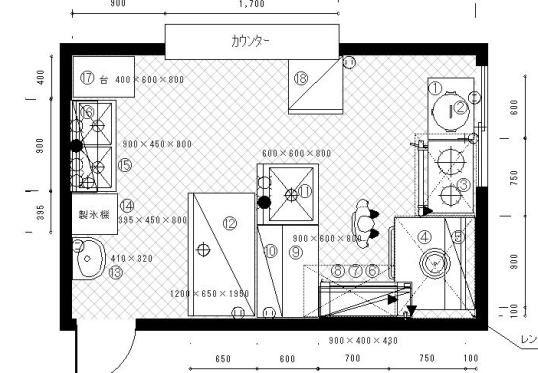 厨房設計図面 厨房 設計 設計図面 平面図