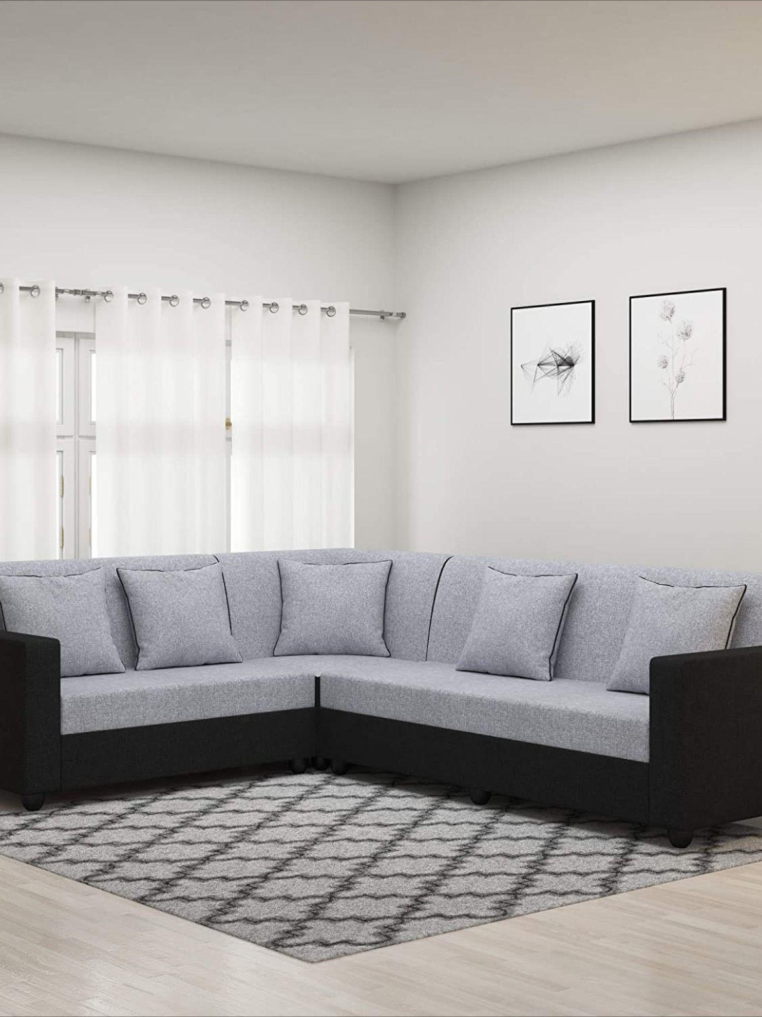Cosmo Plus Fabric L Shape Acacia Wood Sofa For Home In 2020 Living Room Sofa Set Wood Sofa Bedroom Cupboard Designs