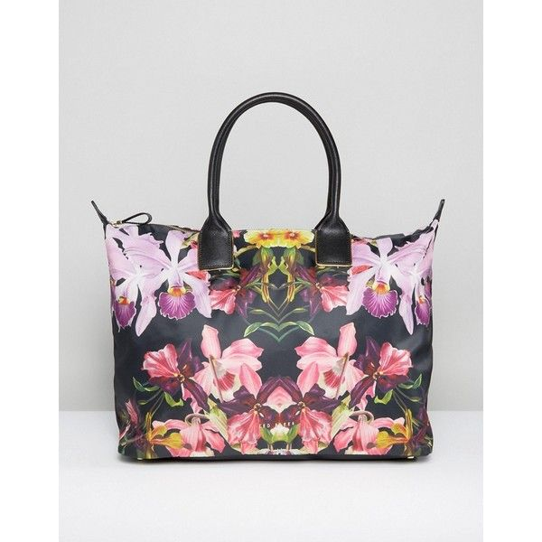 Ted Baker Floral Print Weekender Bag (2,800 EGP) ❤ liked on Polyvore featuring bags, luggage and black