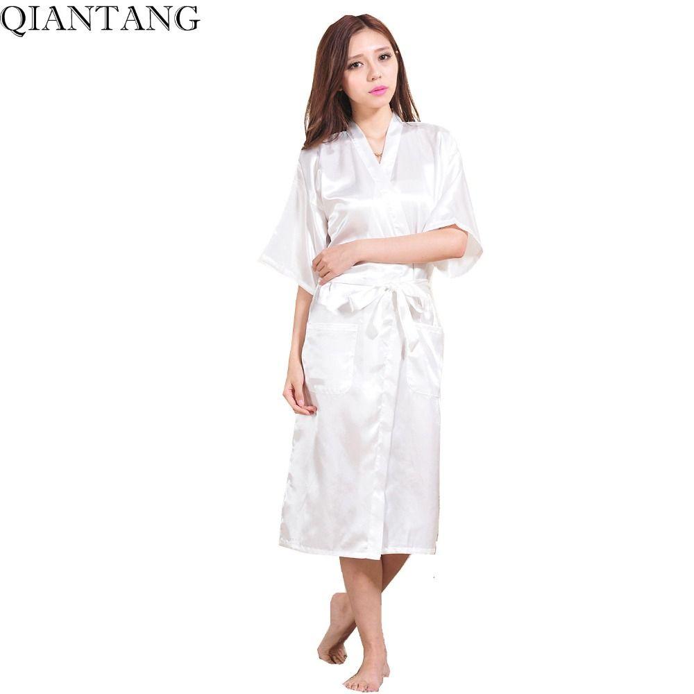 93502aa894 Silk · White Female Faux Silk Robe Bathrobe China Women Sleepwear Kimono  Bath Gown Nightgown Size ...