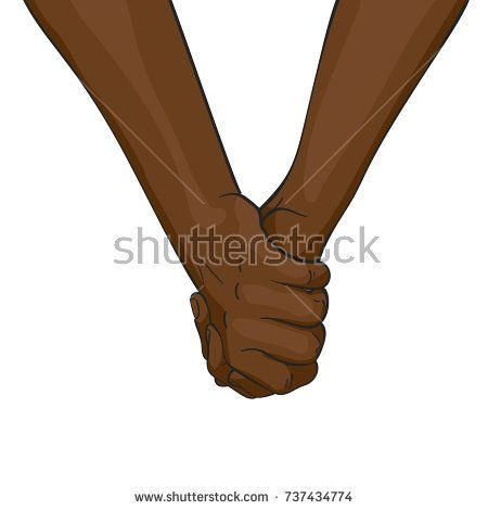 Vector illustration of black afro hands holding together, Love and friendship concept, Illustration in colored sketch style isolated on white background