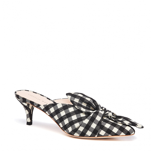 Jade Kitten Heel Mule With Bow Gingham shoes, Shoes