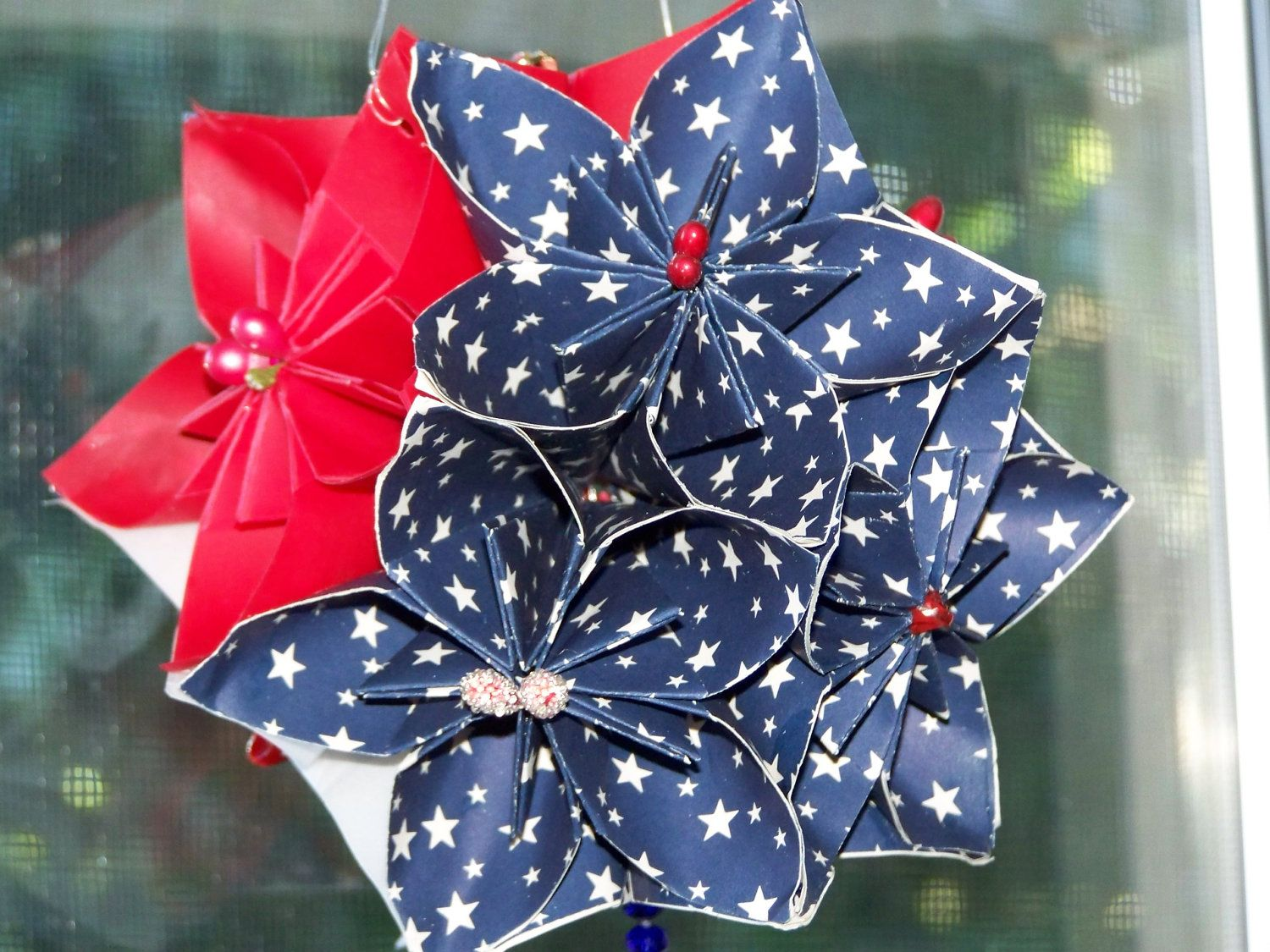 Patriotic Origami Flower Ball Stars in My by GracelinePaperStudio, $16.50