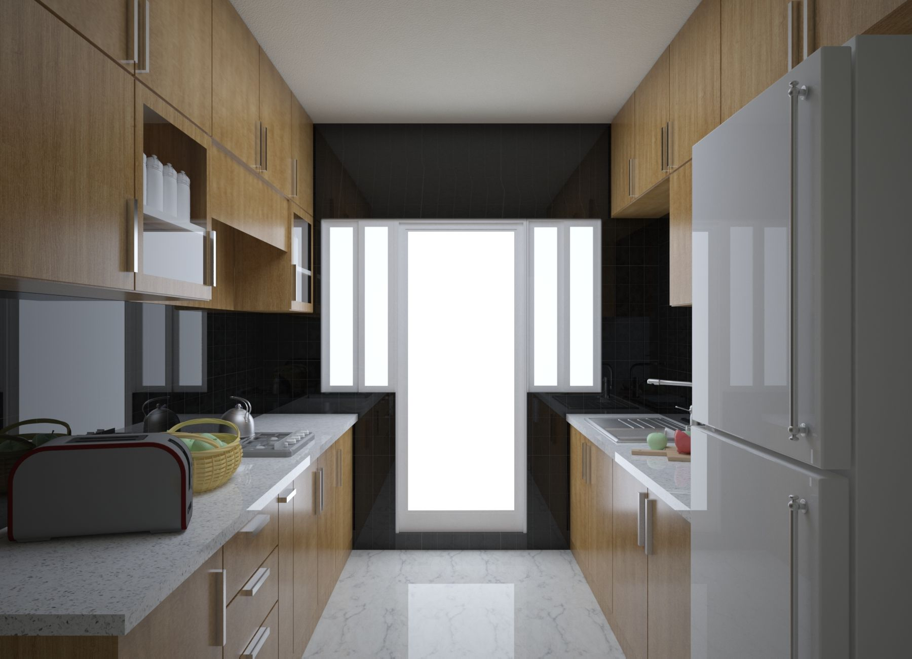 Parallel Modular Kitchen Interior Design Having Complete Wood Finish Making Most Use Of Your Space Interior Design Kitchen Kitchen Interior Interior