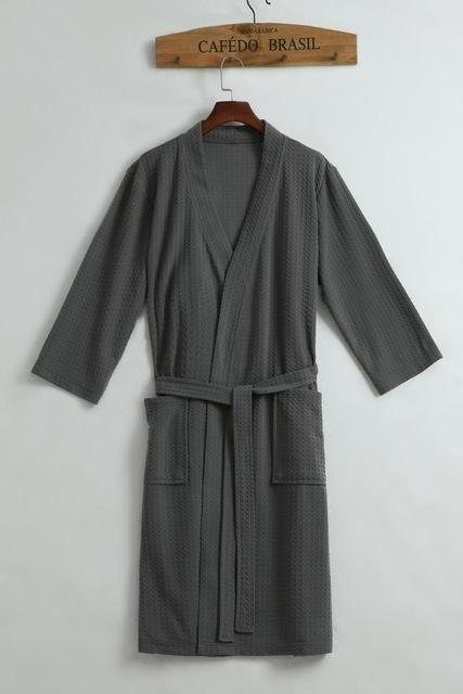 Towel Bath Robe Dressing Gown Unisex Men Women Sleeve Solid Cotton