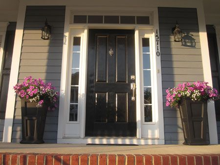 Tall Black Planters And Black Door