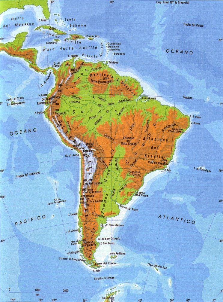 Cartina Fisica Dell America Centrale.Cartina Fisica America Del Sud America Latina America E