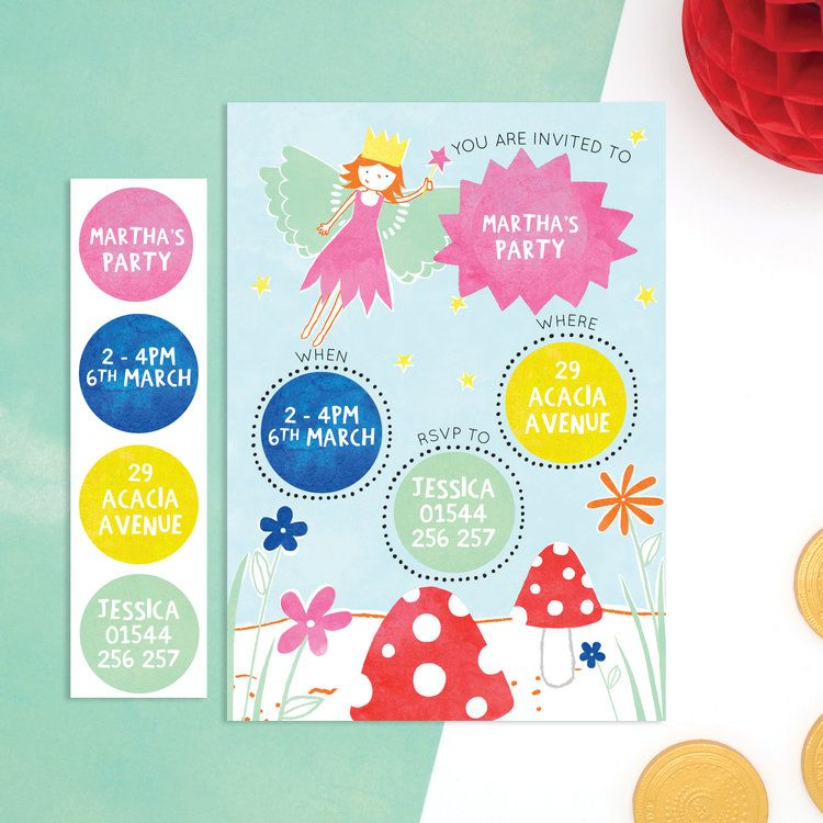 Personalised fairy invitations