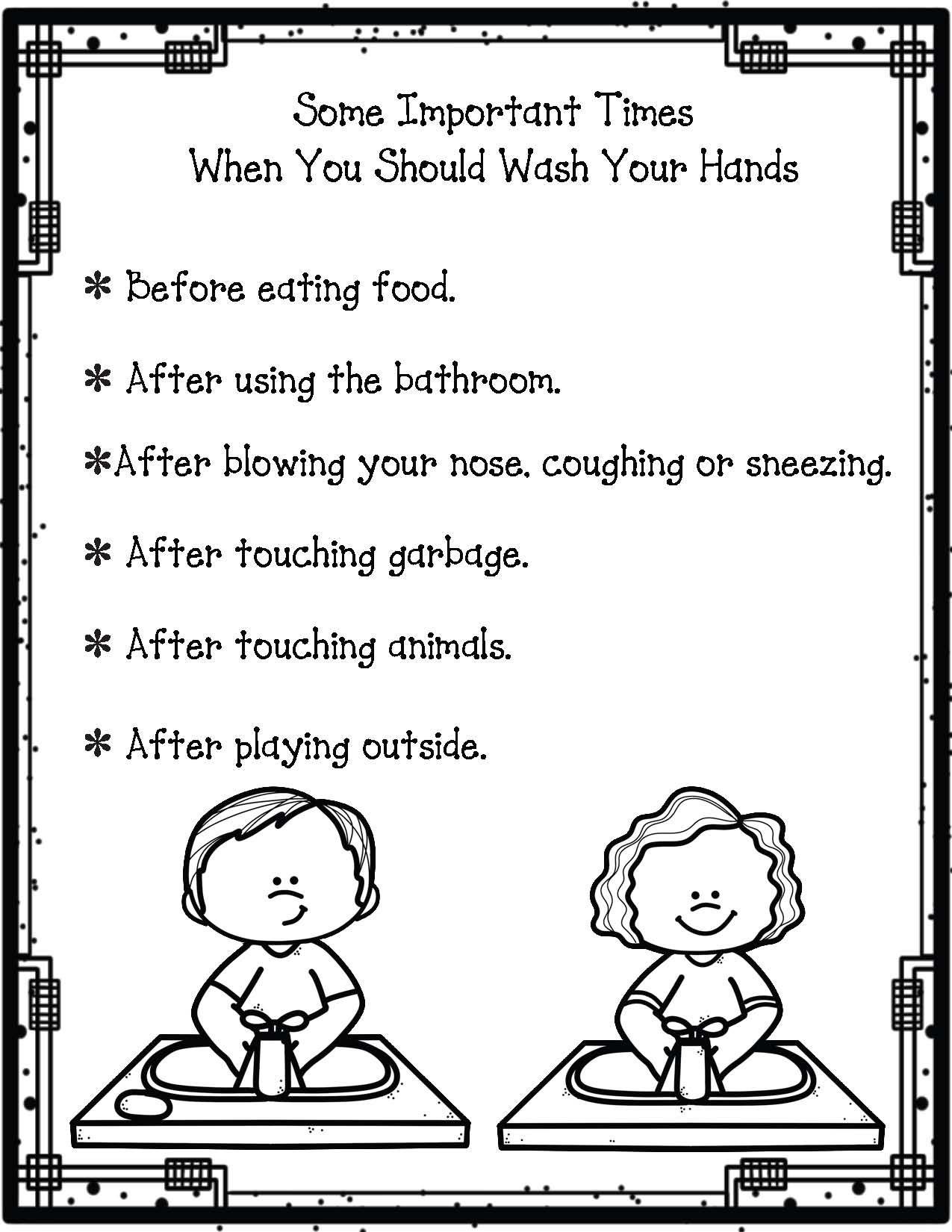 Free Color Me Hand Washing Poster Kindergarten Worksheets Handwriting Worksheets For Kindergarten Kindergarten Worksheets Free Printables [ 1650 x 1275 Pixel ]