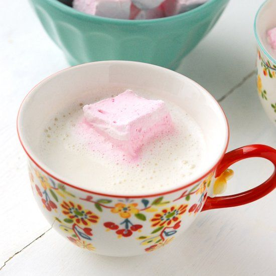 Homemade Vanilla Steamer with Rose-flavored Marshmallows. #flavoredmarshmallows