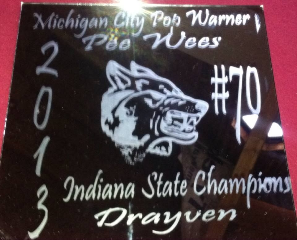 State championship personalized mirror for Pop Warner