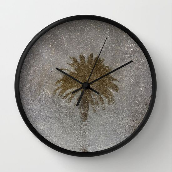 Rainy Day Palm Tree Wall Clock #wallclock #clock #time #simple #perspective #wallart #whattimeisit #modern #richcaspian #home #office #decor