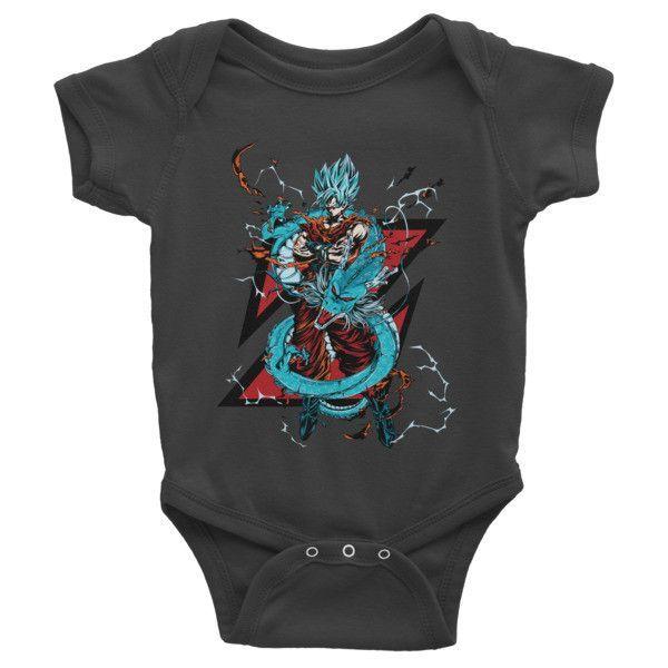 Super Saiyan Goku God Blue with shenron Girl Infant short sleeve one-piece Shirt- PF00245BO