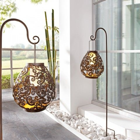 Solarleuchte aus Metall Antik, Gartenbeleuchtung Solar - solarleuchten garten antik
