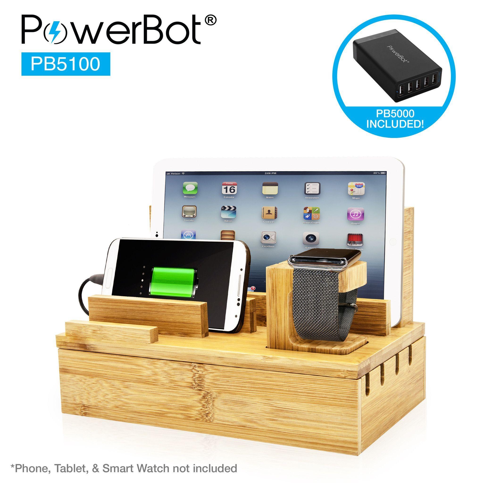 2cd9d192676e PowerBot® PB5100 40Watt 8Amp 5 USB Port Rapid Charger Universal ...