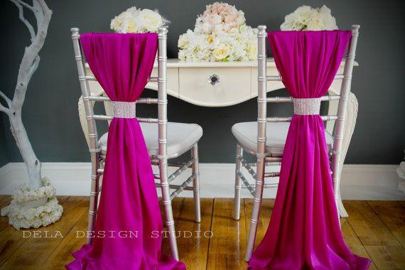 Silky Satin Chair Cover Sash Magenta Wedding By Deladesignstudio 11 00 Chair Covers Wedding Wedding Chair Decorations Magenta Wedding Decorations