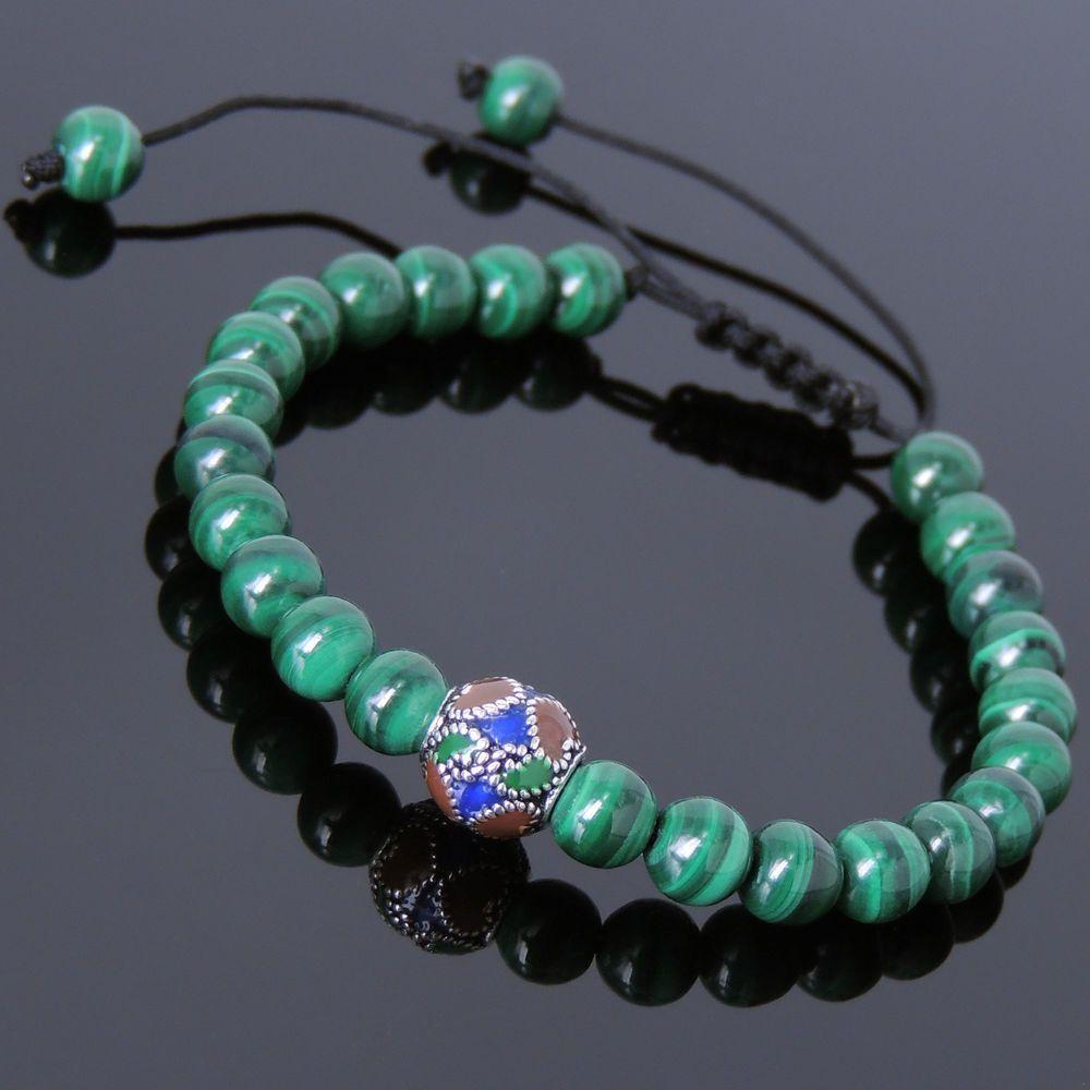 Men women bracelet braided malachite sterling silver handpainted