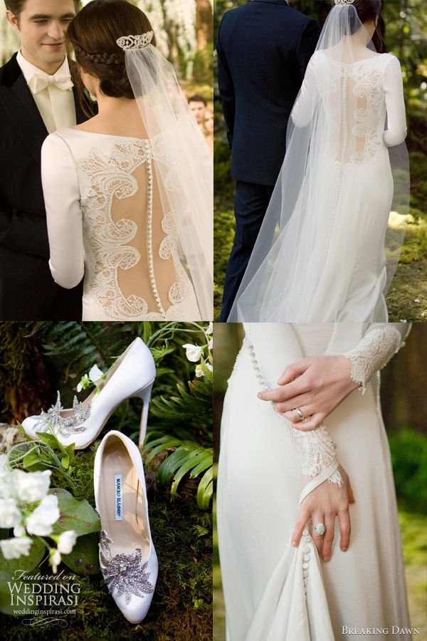 bf909eb01f Details of the Carolina Herrera designed gown worn by Kristen Stewart.  Twilight wedding dress details — the back of the bridal gown feature a row  of 152 ...