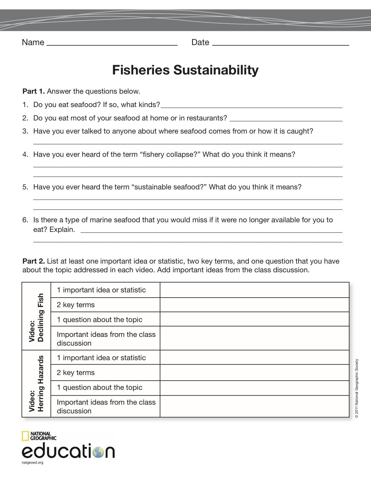 Fisheries Sustainability National Geographic Society