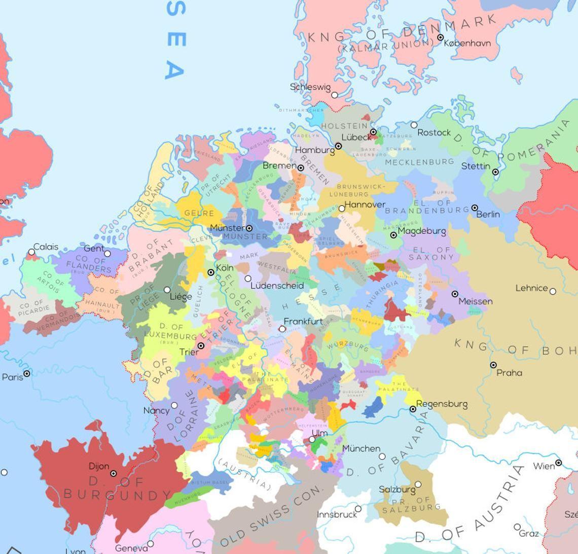 Europa En De Omliggende Gebieden In Het Jaar A D 1444