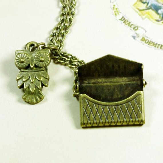 Owl Post Necklace with Hogwarts Acceptance Letter  by tonightstar, $6.99