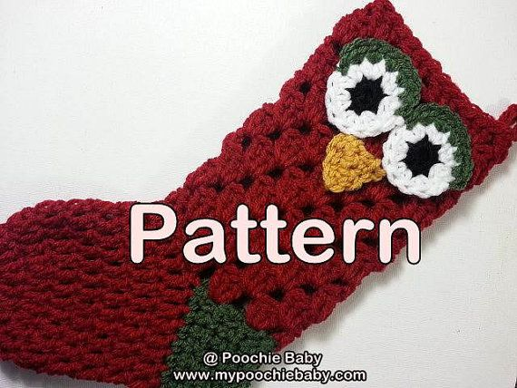 Pattern Crochet Owl Christmas Stocking Crochet Christmas