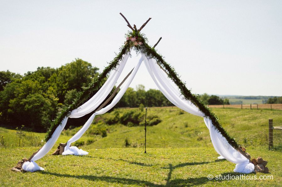 wedding ceremony new york city%0A teepee style altar for an outdoor wedding ceremony on a farm in NY state   Woodshill