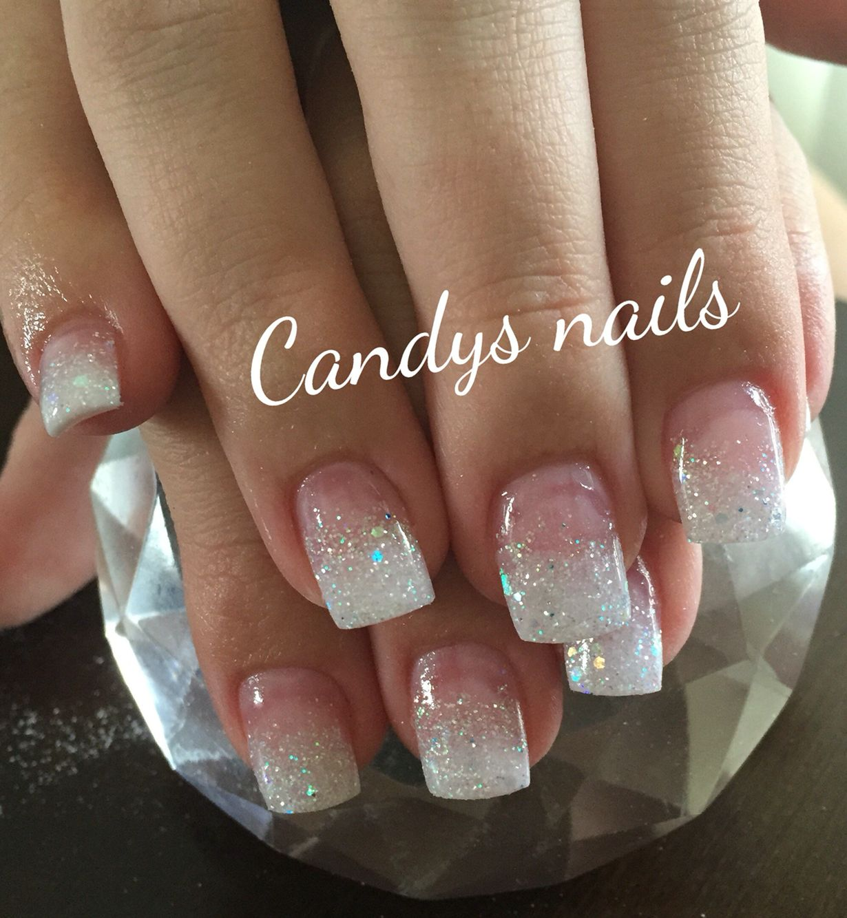 White glitter fade acrylic nails nails pinterest white