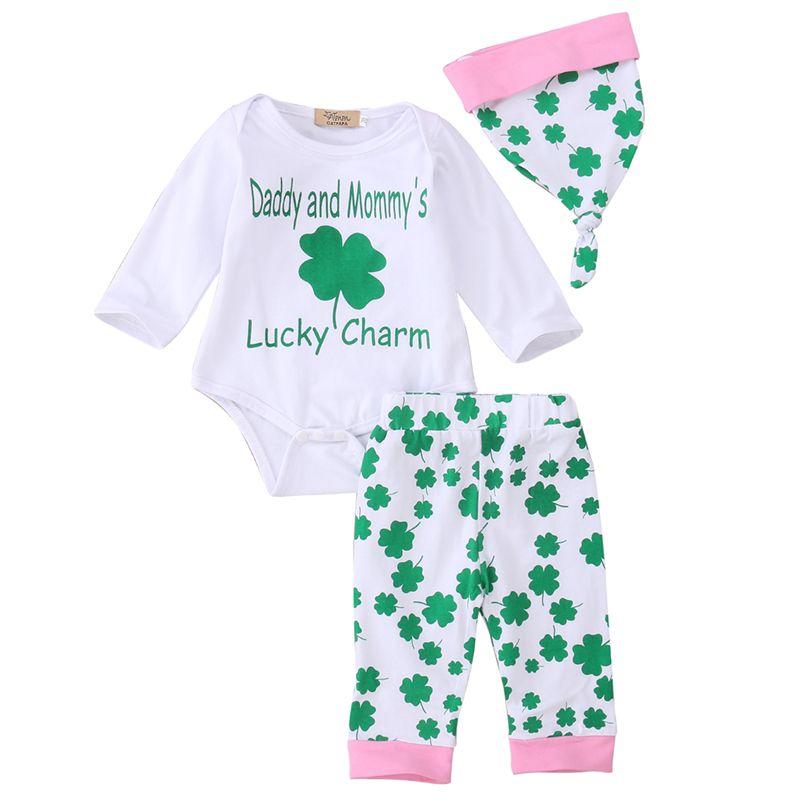 c3016b617c69 Click to Buy    3PCS Newborn Infant Baby Girls Clothes Four Leaf ...
