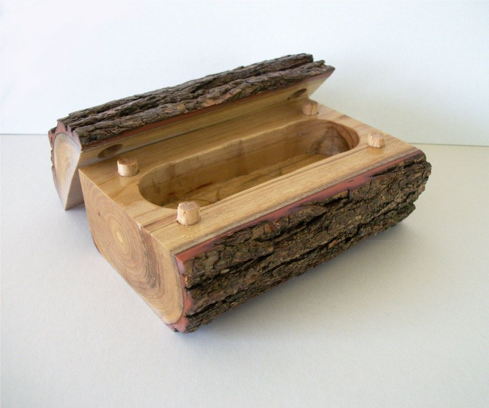 Log Projects: Bark Covered Rustic Cherry Wood Log Jewelry Box Tree