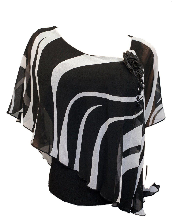 Evogues Plus Size Black Sheer Layered Poncho Top Vixen Garments