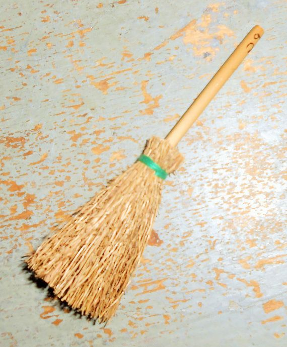 Miniature Brooms, Straw Broom, Doll House, Small Brooms, Fairy Broom, Set of Three #broomdolls