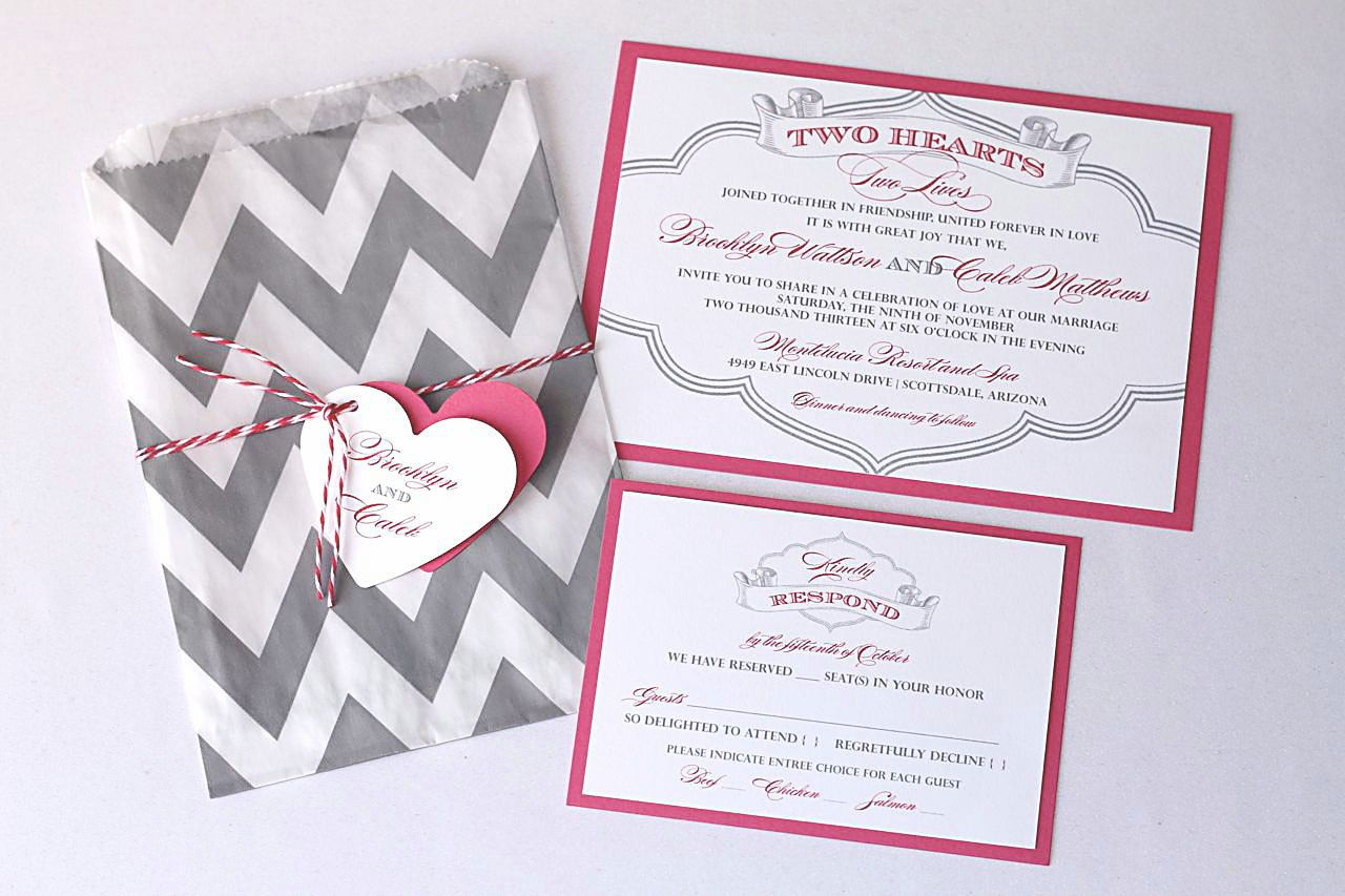 Brooklyn Wedding Invitation Sample - Chevron Design - Pink, Grey and ...