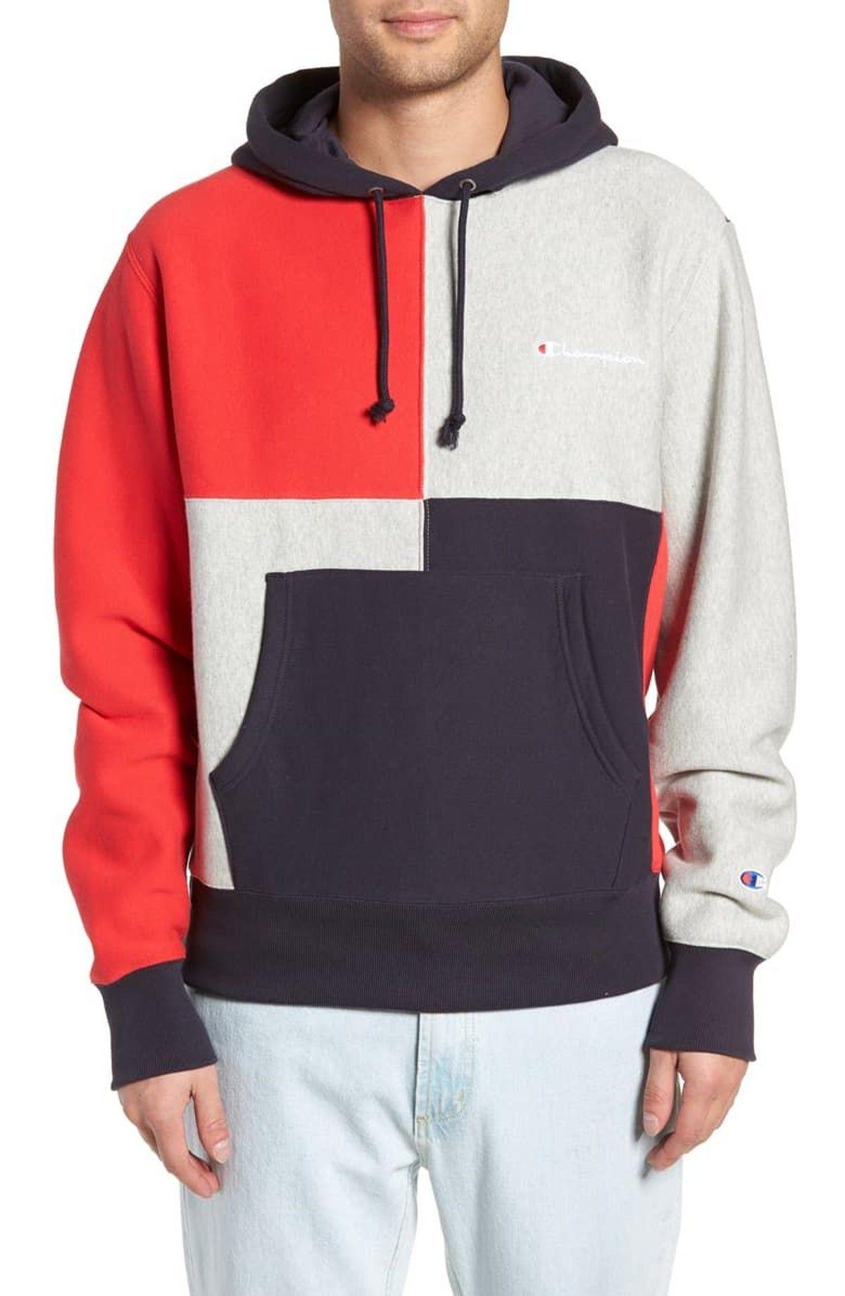 Champion Reverse Weave Colorblock Hoodie Mens Sweatshirts Hoodies Hoodie Fashion [ 1840 x 1200 Pixel ]