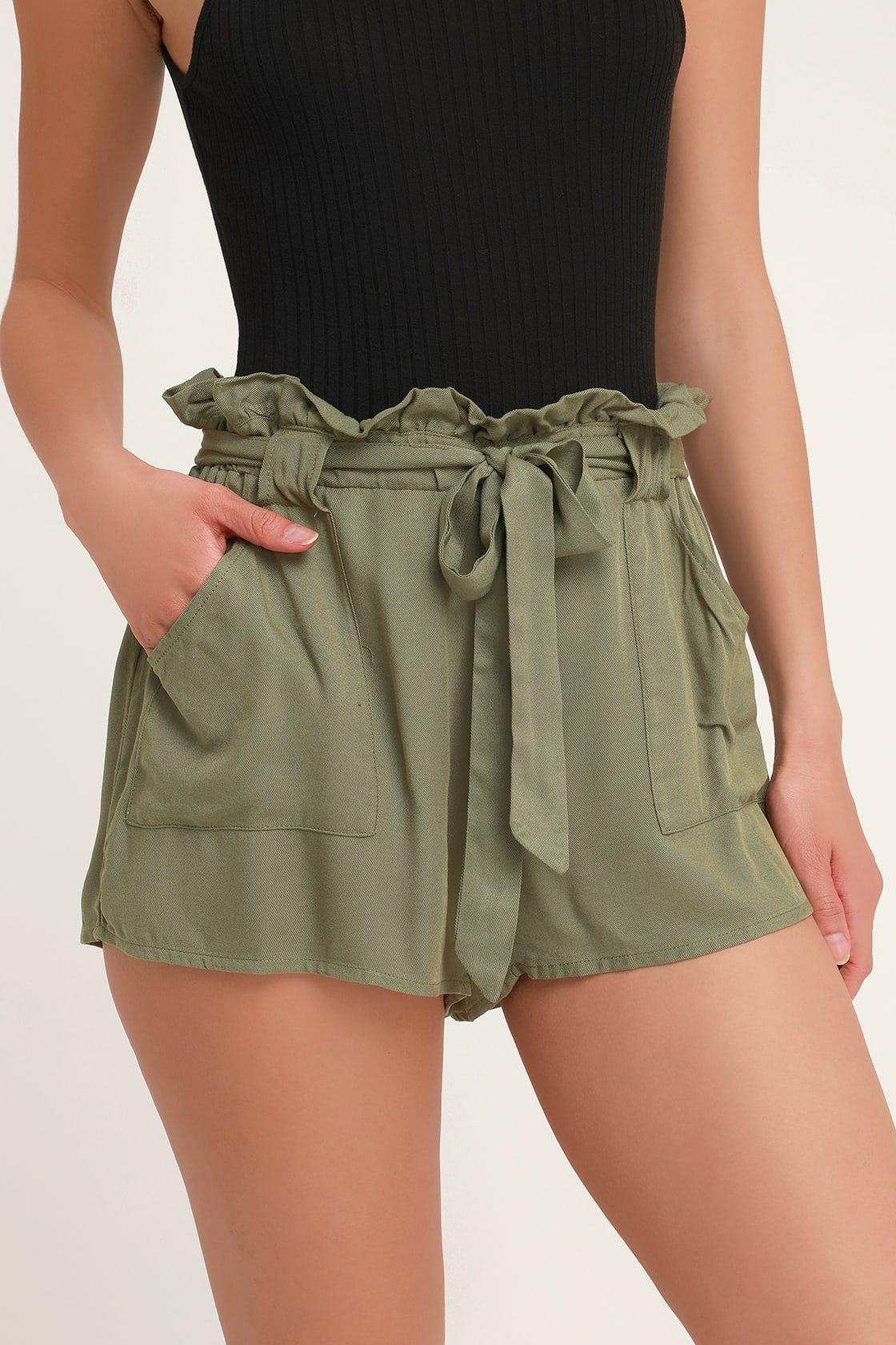 Belt It Out Olive Green Paper Bag Waist Shorts Green Shorts Outfit Olive Green Shorts Paper Bag Shorts