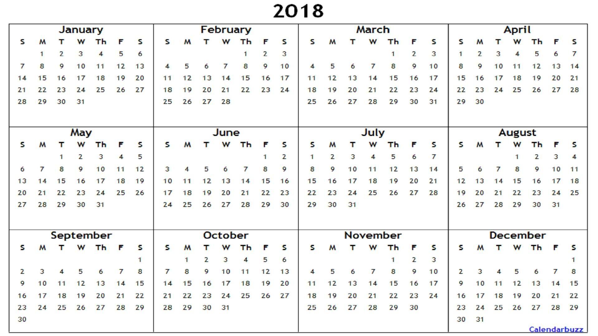 Yearly Calendar Printable Word