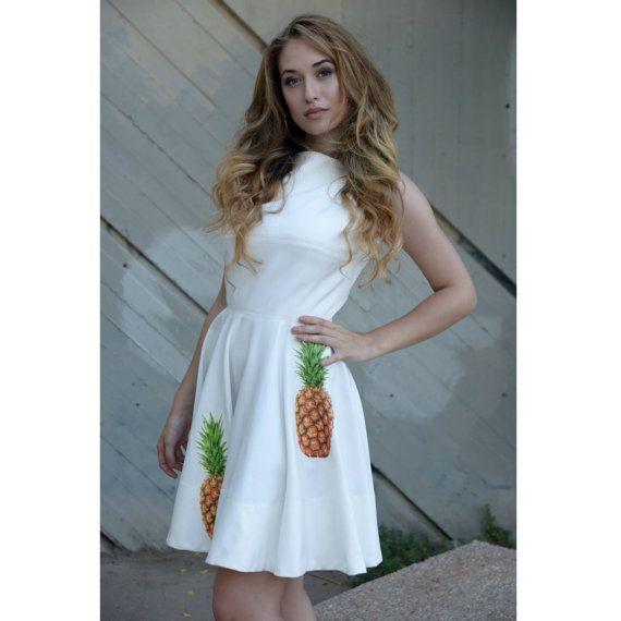 White Women Dress. Print On Fabric. Mini. by CampanaDress on Etsy
