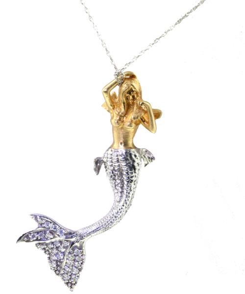 18k & Diamond Angel Mermaid Necklace.