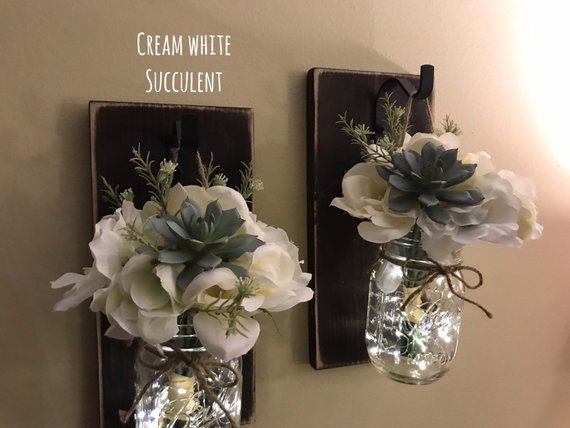 Mason Jar Wall Sconce With Flowers