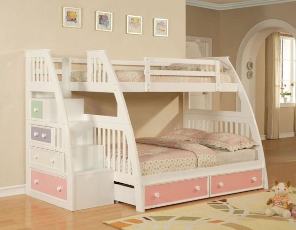 Bunk Beds With Stairs Ligo Color Box White Twin Over Full Bunk