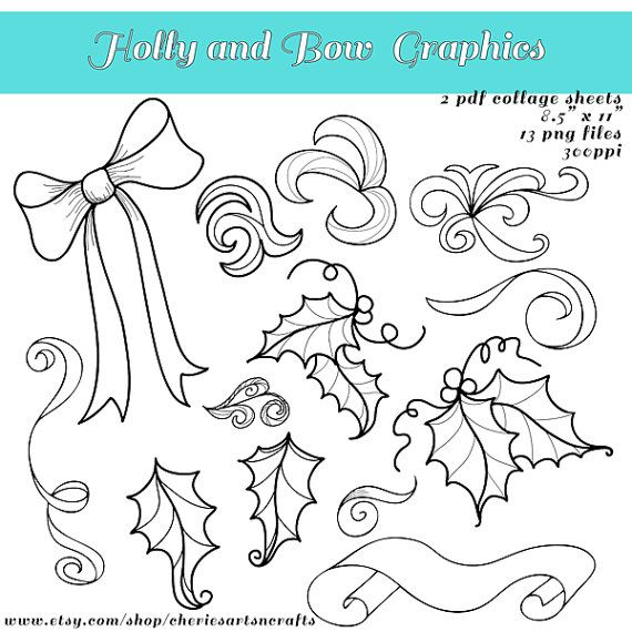 Christmas Holly Bow And Swirls Line Art By Cheriesartsncrafts Christmasclipart Christmascoloringpages Christmas Card Art Card Art Christmas Coloring Pages