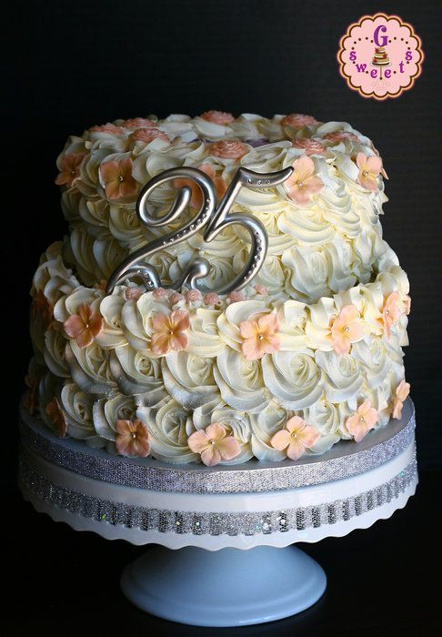Silver Wedding Anniversary Cake Like The Flowers On Top Of The