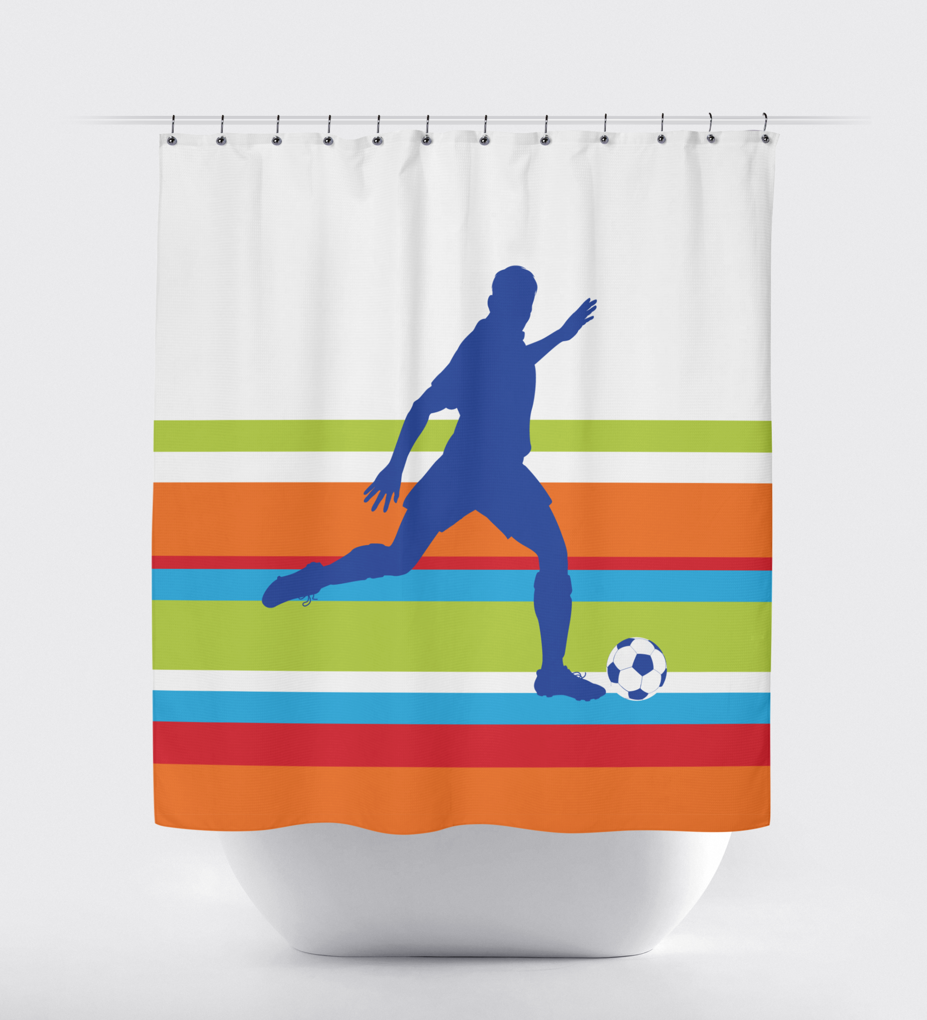Soccer Multi Striped Shower Curtain Royal Blue Orange Red
