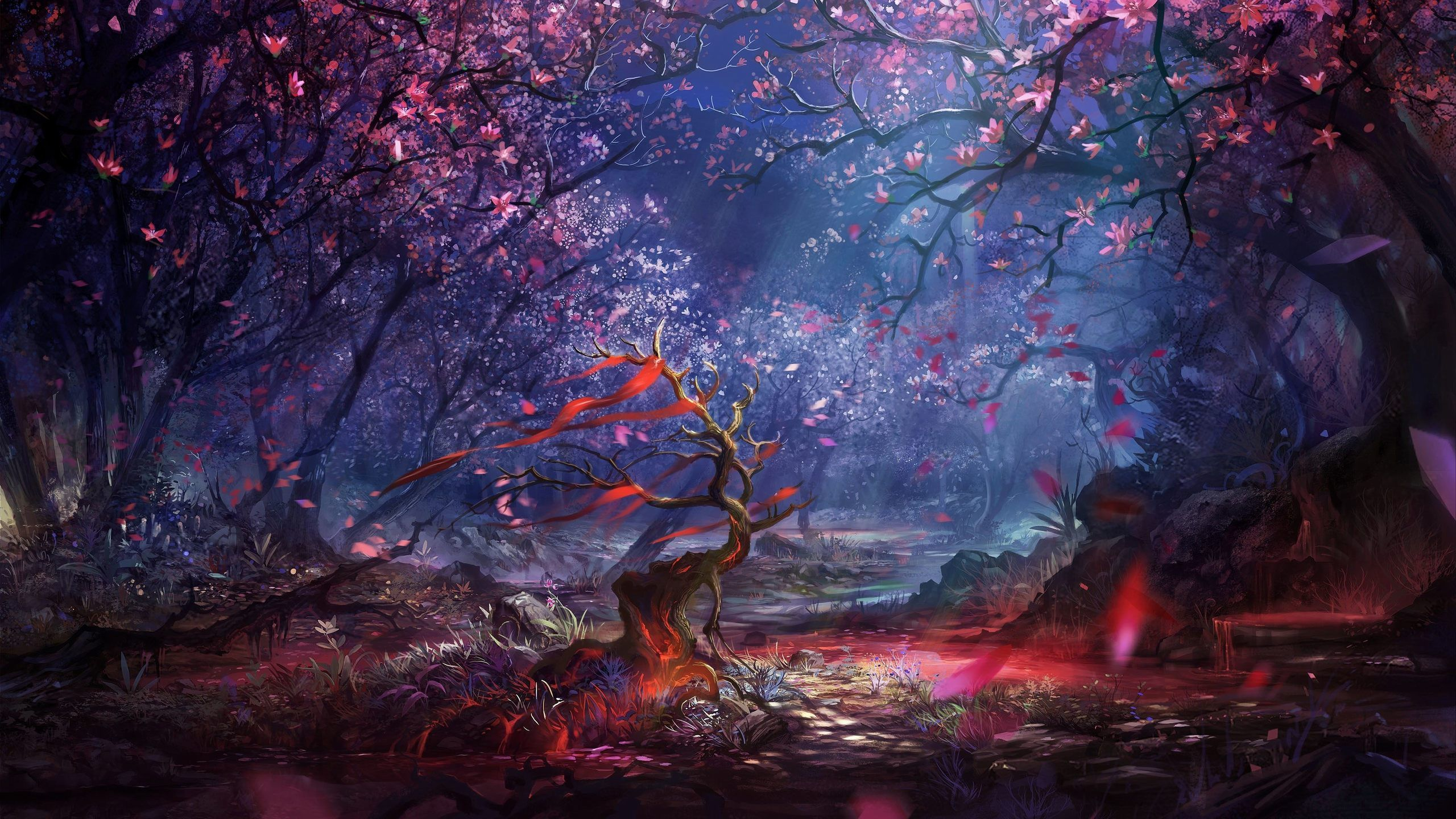 Fantasy Forest Widescreen Wallpaper High Resolution Wallpaper 2560x1440 Px Fantasy Landscape Landscape Wallpaper Fantasy Art Landscapes
